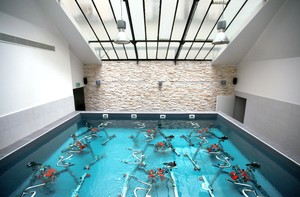 The Pool Is Fairly Shallow And Comes Up To An Average Sized Womans Shoulders The Bikes Are Fully Immersed In The Water Soft Plasticky Rubber Shoes Are